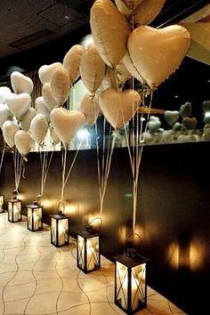 decoração de casamento luminarias com balões