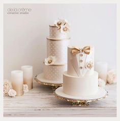 The Chic Technique: Gold and White Bride & Groom Wedding Cakes Elegant Wedding Cakes, Beautiful Wedding Cakes, Wedding Cake Designs, Beautiful Cakes, Elegant Cakes, Beautiful Gorgeous, Fondant Wedding Cakes, Fondant Cakes, Wedding Cake Toppers