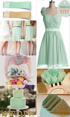 Adorable Floral One-shoulder Mint Short Bridesmaid Dresses for Mint Gold Weddings