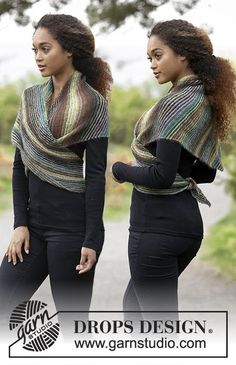 Ponchos & Shawls - Free knitting patterns and crochet patterns by DROPS Design Drops Design, Knitting Patterns Free, Free Knitting, Free Pattern, Crochet Patterns, Outlander Knitting, Magazine Drops, Garter Stitch, Knitted Shawls
