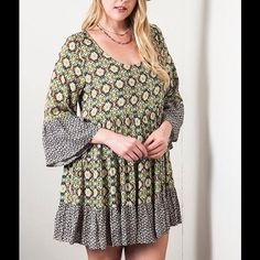 Boho Urban Hippie Plus Size Dress XL 1XL A  boho country chic print in a mint green, chocolate brown ,tan and black .This has three quarter bell sleeves with a slightly ruffled edge, as does the hem line. .  Slightly longer in back. Length from top of shoulder to front hem is approx. 34 to 35 inches. Dresses Mini