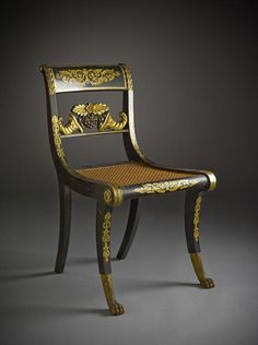 Would you recognize a klismos chair? Learn what a klismos is and what it looks like. This glossary-style article defines the klismos, an ancient Greek chair revived in Europe. Antique Chairs, Antique Furniture, Painted Furniture, Famous Furniture Designers, Nature Architecture, Rocking Chair Nursery, Fire Pit Table And Chairs, Greek Design, French Chairs