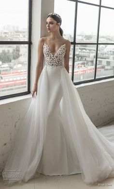 julie vino 2019 romanzo bridal sleeveless v neck heavily embellished bodice romantic elegant fit and flare wedding dress a line overskirt low scoop back chapel train (3) mv -- Romanzo by Julie Vino 2019 Wedding Dresses #weddingdress