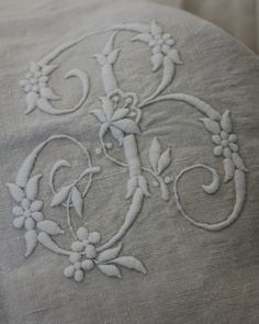 embroidered monogram. Gorgeous!