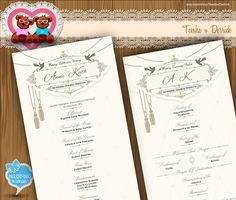 Custom Wedding Program classical Rustic chic typographic style with elegant Typography card design clipart - printable file (w0017), designed by TeeshaDerrick, available at easy.com