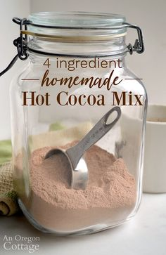 Make your own healthier homemade hot cocoa mix with 4 ingredients and this recipe! It's super easy and perfect for cold nights, after playing in the snow, and camping. Needs only water to make this hot chocolate! Homemade Dry Mixes, Easy Homemade Recipes, Homemade Food Gifts, Diy Food Gifts, Homemade Hot Chocolate, Hot Chocolate Recipes, Swiss Miss Hot Chocolate Recipe, Sugar Free Hot Chocolate, Hot Chocolate Gifts