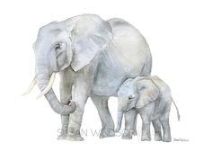 Elephants Watercolor Painting  7 x 5 inches  by SusanWindsor Mother And Baby Animals, Mother And Baby Elephant, Elephant Love, Elephant Art, African Elephant, African Animals, Baby Elephants, Elephant Paintings, Animal Art Prints