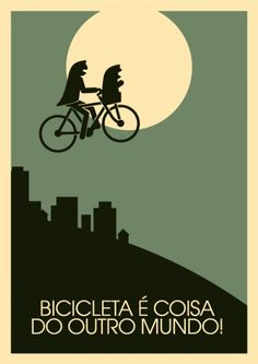 E.T. and vintage style bicycle prints