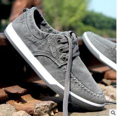 53e17271853 2017 Men s Casual Shoes Sweat Absorbant Lace up Non slip Washed Denim  Canvas Shoes Soft Bottom Shallow Single Cloth Shoes-in Men s Casual Shoes  from Shoes ...