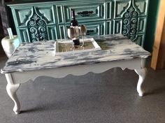 Shabby chic coffee table painted in Superior Paint Co. Little White