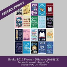 Free Printable Books 2018 Planner Stickers from My Life Planners