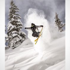 3 of 3: Who loves grabbing tail? @TannerRainville does. Photo by @JeffCricco. #FREESKIER #Skiing