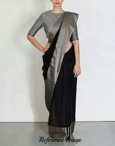 Beautiful black linen by line saree with shiny grey broad border. Blouse piece running. To own it plz leave msg in comment section or visit our page weave in fb. Sari Blouse Designs, Saree Blouse Patterns, Grey Saree, Black Saree Blouse, Lehenga Blouse, Blouse Neck, Formal Saree, Plain Saree, Black Saree Plain