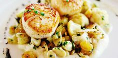 pan seared diver scallops over cauliflower puree Date Night Dinners, Coquille Saint Jacques, Cauliflower Puree, Balsamic Reduction, 20 Min, Scallops, Mousse, Entrees, Potato Salad