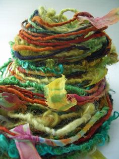"MyMixMix on Etsy. ""Georgia: Early Women of Taos Series"" mixed fiber hand-spun art yarn. Awesome."