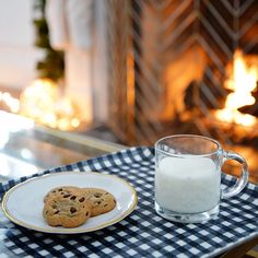 We can't think of a sweeter combination than milk and cookies by a cozy fire. Different Holidays, Beautiful Space, Christmas Cookies, Glass Of Milk, Boards, Cozy, Fire, Sweet, Decor