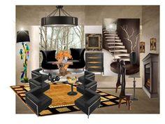 """Black beauty"" by angelandmila ❤ liked on Polyvore featuring interior, interiors, interior design, home, home decor, interior decorating, Framburg, Flash Furniture, Fratelli Boffi and Jonathan Adler"