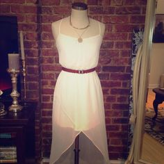 Goddess inspired white chiffon high low dress Gorgeous white chiffon dress from Zara.  Elastic waist, adjustable straps, high low hem.  Lined to mid thigh, sheer from mid thigh to hem.  Belt and necklace not for sale.  Comes from a non smoking home. Zara Dresses High Low