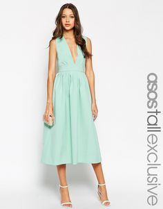 ASOS TALL Exclusive Occasion Plunge Dress with Open Back