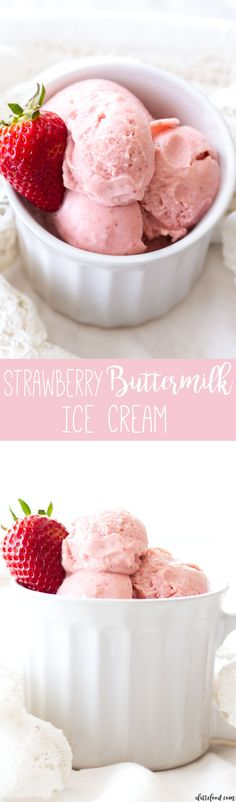This homemade Strawberry Buttermilk Ice Cream is made with 6-ingredients! This easy strawberry ice cream recipe is smooth, creamy, and the perfect summer dessert!