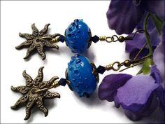 Blue Lampwork Glass Bead Antiqued Brass Sun Swarovski Crystal Earrings | specialtivity - Jewelry on ArtFire