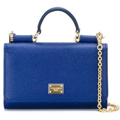 Dolce & Gabbana small 'Miss Sicily' shoulder bag (2.485 BRL) ❤ liked on Polyvore featuring bags, handbags, shoulder bags, blue, genuine leather purse, leather shoulder bag, chain shoulder bag, real leather purses and top handle handbags