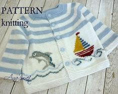 Hand knit baby cardigan with pocket.Knitted baby cardigan with applique. Cardigan Bebe, Knitted Baby Cardigan, Baby Pullover, Summer Cardigan, Wool Cardigan, Cardigan Pattern, Baby Knitting Patterns, Baby Patterns, Hand Knitting