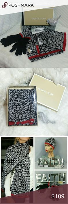 🎄🎁MICHAEL KORS BOX SET🎁 🌟🌟Trusted Seller🌟🌟Suggested User🌟🌟                💯100%AUTHENTIC 💯    Brand new with tags  Michael Kors BOXED gift set including scarf, gloves and beanie plus orginal Michael Kors Box. Colors are black and gray with a pop of red trim! LOVE IT!! Make this the perfect gift for yourself or someone you care for!!  💖Shop with confidence💖💖  🎉🎊Suggested User🎊🎉  📮💌Same day shipping📮💌  5🌟🌟🌟🌟🌟 star rated closet  👍👍Top seller👍👍 Michael Kors…