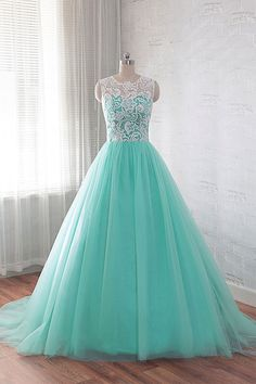Green round neck tulle lace long prom dress, wedding dress, lace bridal gown