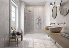 Have a lovely week with this bathroom of dreams. Calacatta Tile for Wall and Floor is always a gorgeous idea. Marble Porcelain Tile, Marble Tile Bathroom, Marble Look Tile, Ceramic Mosaic Tile, Bathroom Flooring, Ceramic Tile Bathrooms, Porcelain Floor, Marble Wall, Marble Floor