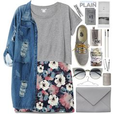 1671. Grey Color & Floral Print by chocolatepumma on Polyvore featuring мода, Monki, Chicnova Fashion, J.Crew, Ann Demeulemeester, River Island, Cath Kidston, H&M, croptop and floralprint