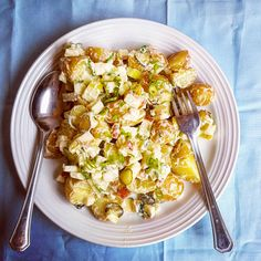 Warm Potato Salad with Apples & Pickle, 12p, from @MxJackMonroe https://cookingonabootstrap.com/2018/07/13/warm-potato-salad-recipe/