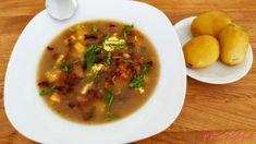 """Podkrkonošské kyselo: """"Podkrkonošské kyselo je polévka z chlebového kvásku. Polévka má nakyslou chuť po kvásku chutná po použitých houbách po opečené cibulce a ke kyselu s..."""" Thai Red Curry, Ethnic Recipes, Food, Meals"""