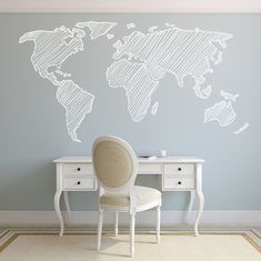 Walls need love world map wall decal wall space pinterest wall 7 pieds carte wall decal sticker mural amovible by decoryourwall on etsy gumiabroncs Image collections