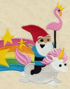 Gnome riding unicorn over rainbow with crown wearing flamingo