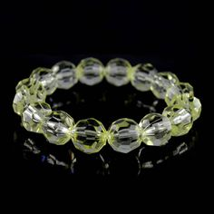 Light Yellow Faceted Bead Stretch Bracelet H951 Mother's Day #Affinityfashionjewelry #Stretch