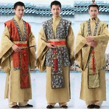 Red/Yellow Chinese Man Han Clothing Emperor Prince Show Cosplay Suit Robe Costum
