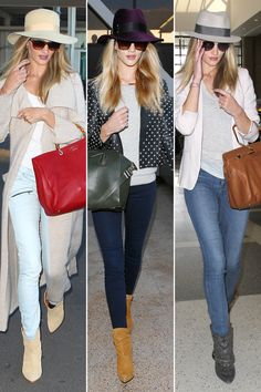 Top It Off - Rosie Huntington-Whiteley is always on the go, and the top model has perfected travel style. Take skinny jeans, pair them with comfortable boots and a loose T-shirt, and top it all off with a felt hat - a winning combination indeed.
