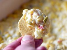 This cheesy corn dip is pure comfort food and ridiculously easy to make! Perfect for parties or game day get-togethers. Appetizer Dips, Appetizers For Party, Appetizer Recipes, Party Nibbles, Party Dips, Dip Recipes, Snack Recipes, Cooking Recipes, Crowd Recipes