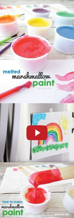 Marshmallow Paint Video! Watch how fun and easy it is to paint with melted marshmallows. Full DIY recipe here - must try!
