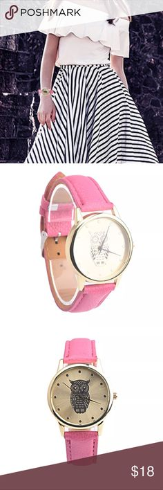 Hot Pink Owl  Watch ⌚️ New in package   ⌚️ A classic look, this fashion analog quartz wrist watch is specially designed with metal case and faux leather band  ⌚️ Case Material: Metal  ⌚️ Case Diameter:3.6cm/1.4'' (Approx.)  ⌚️ Band Material: Faux Leather  ❌ No Trades Accessories Watches