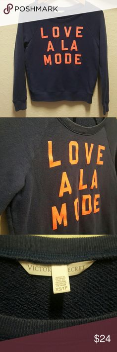 """VS Love sweater Victoria's Secret. Navy pull over crew neck sweater with bold neon coral  """"LOVE A LA MODE"""" Normal wear but no piling. Letters intact no peeling. Soft, casual and cute! Victoria's Secret Sweaters Crew & Scoop Necks"""