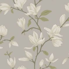 Adorn your walls with this elegant wallpaper with magnolias in light taupe. This surface printed wallpaper has a beautiful matte surface and is perfect for creating a stylish accent wall in a classic interior. The wallpaper design is printed on a Classic Interior, Home Interior, Interior Design Living Room, Magnolia Green, Magnolia Flower, Normal Wallpaper, Print Wallpaper, Botanical Wallpaper, Flower Mural