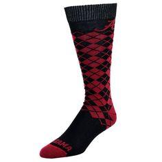Mojo, Men's  Alabama Crimson Tide Argyle Socks, Red
