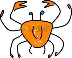 cangrejo caricatura: un cangrejo que agarra aislado en el blanco dibujado en estilo del arte del niño