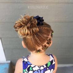 "Cami  Toddler Hair Ideas on Instagram: ""Today I started with a diagonal part-line with 4 micro braids below, then pulled it all into a high left messy bun! I spy a slight tint of…"""