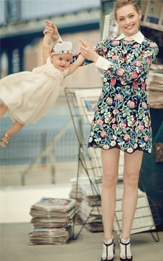 Sasha Pivovarova and Mia Isis photographed by Boo George for US Vogue, August 2013