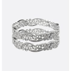 Avenue Filigree Stretch Bracelet Set ($16) ❤ liked on Polyvore featuring jewelry, bracelets, plus size, silver, artificial jewellery, silver bangles, filigree jewelry, stretch jewelry and fake jewelry