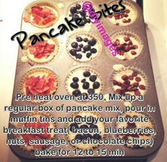 Pancake muffins. Add protein powder and mixed berries.