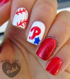 Skittles: Baseball Nails Softball Nails, Baseball Nails, Phillies Baseball, Diy Nails, Cute Nails, Pretty Nails, Nail Polish Designs, Nail Art Designs, Baseball Nail Designs